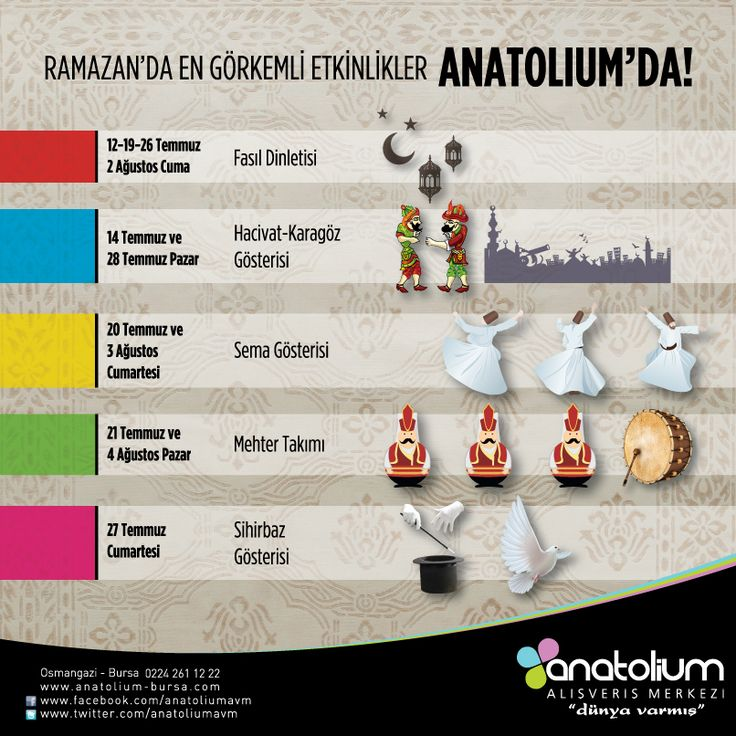 11 ayın sultanı Ramazan, Anatolium'da farklı etkinliklerle çok güzel geçecek...