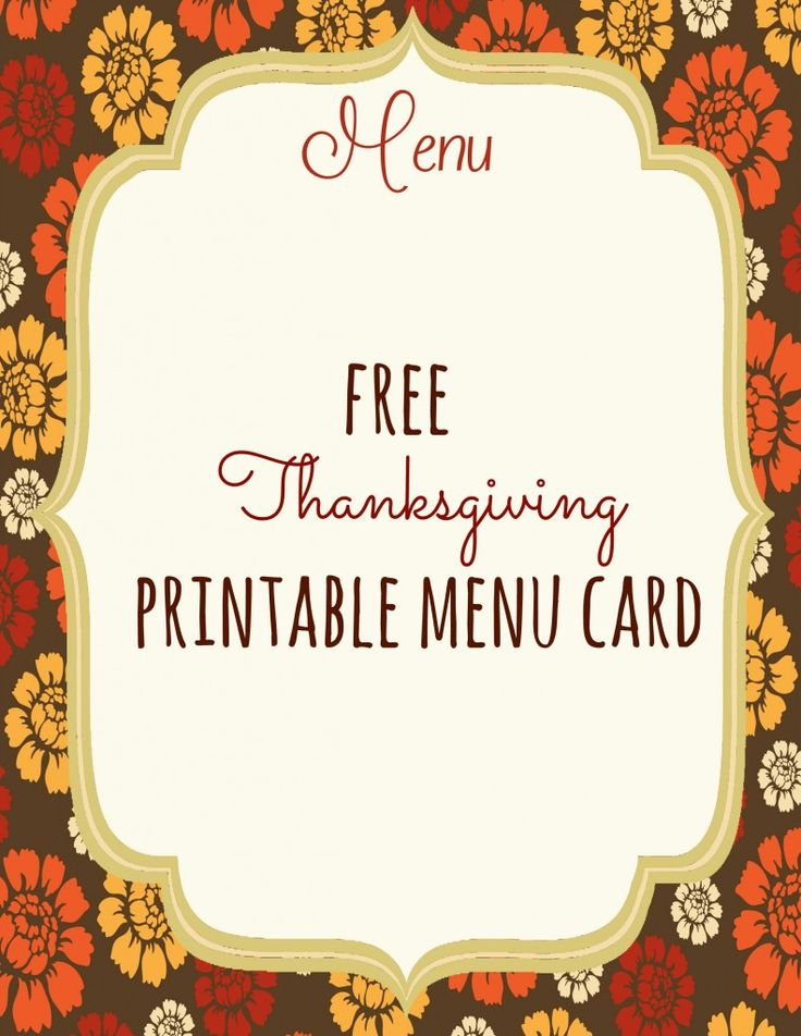 Print this FREE Thanksgiving Menu Card. Your guests will love these!