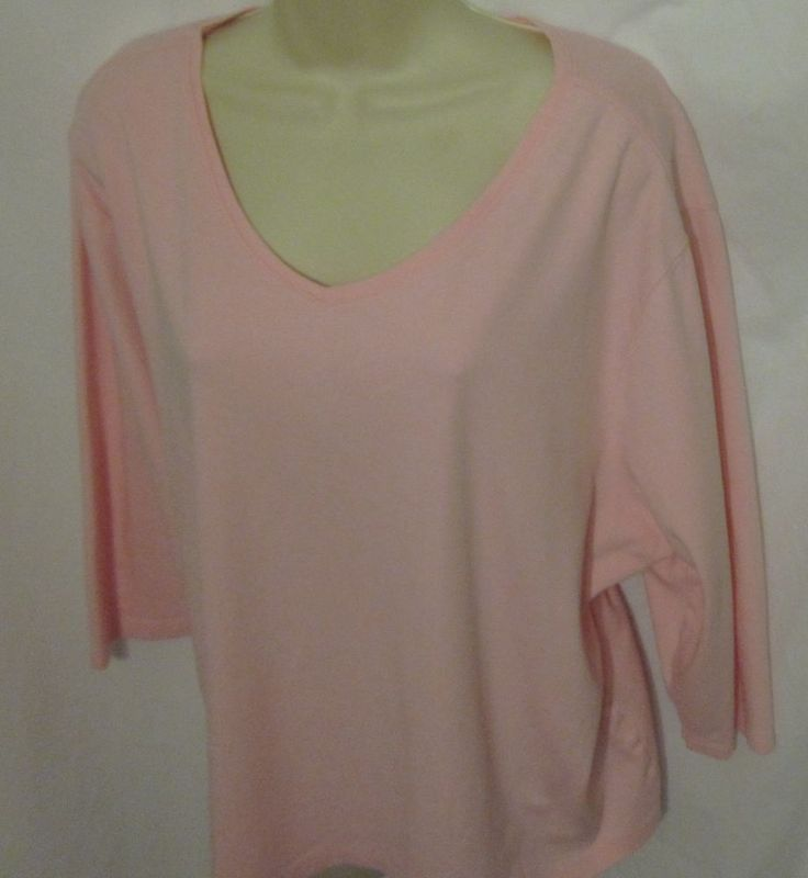 You'll feel pretty in pink in this LL Bean Womens Shirt. Size  3X -  3/4 Length Sleeves - V- neck - Cotton - Great top! #LLBean #KnitTop #Casual #OurDesignerClothes4U