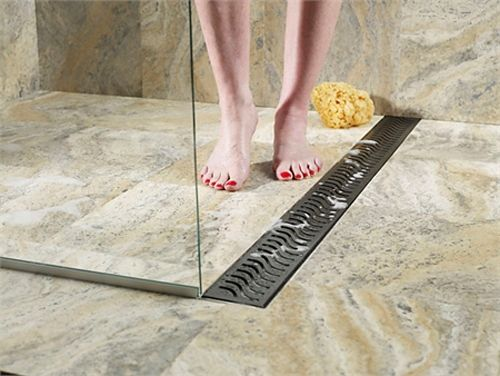 linear drain shower no lip - Google Search