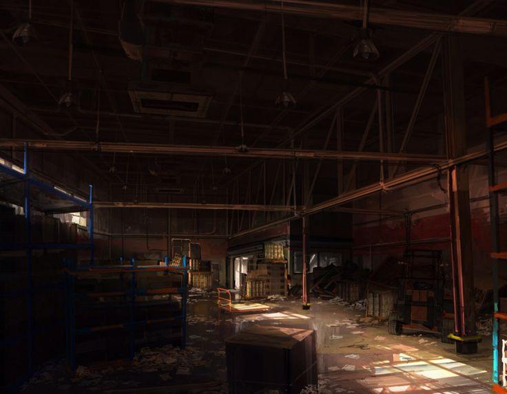 Warehouse Concept Art Fear Video Game Art