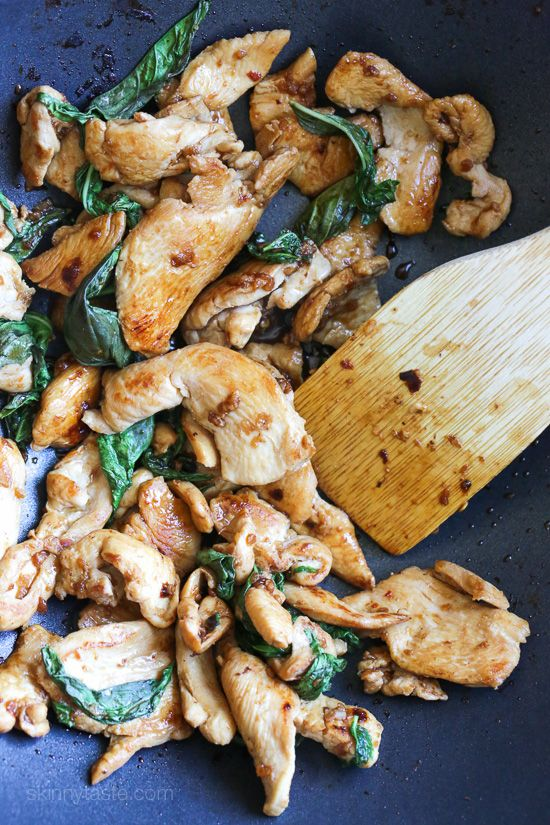 Thai Basil Chicken – easiest Thai chicken stir-fry dish EVER! Smart Points: 3 Calories: 210