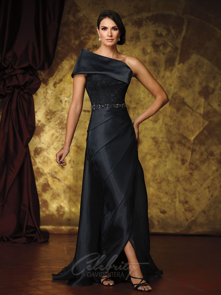 Celebrity by David Tutera - DT11612 - One-shoulder organza and lace sheath with wide dramatic asymmetrical neckline, single short sleeve, lace bodice with hand-beaded natural waist, asymmetrically pleated organza tulip skirt with slight high-low hem, detachable sweep train.  Sizes: 4 - 20  Color: Black