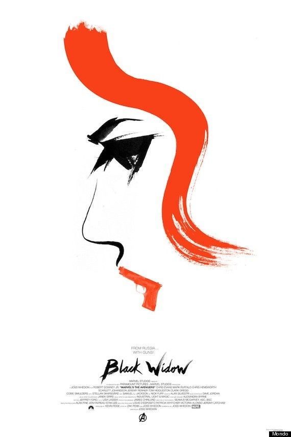 "For Black Widow, Mondo got famed designer Olly Moss to create the minimalist poster. The striking red-black-and-white print features a profile of Johansson's face, with her red lips replaced with a gun. The tag line reads: ""From Russia with Gun,"" a play on both the famed James Bond movie as well as Widow's origins."