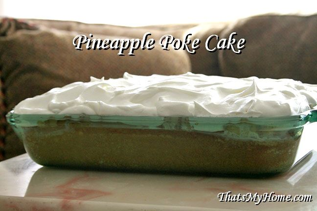 Pineapple Poke Cake - This poke cake has a mixture of condensed milk and pineapple juice and topped with crushed pineapple and cool whip.