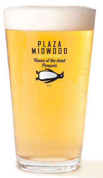 Plaza Midwood Dead Penguin Beer Glass