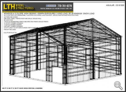 40' x 40' x 20' Steel Building for Sale - USA, CO 81020   LTH Steel Structures