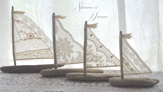 4 playa de Driftwood Decor veleros antiguos por LoveEmbellished