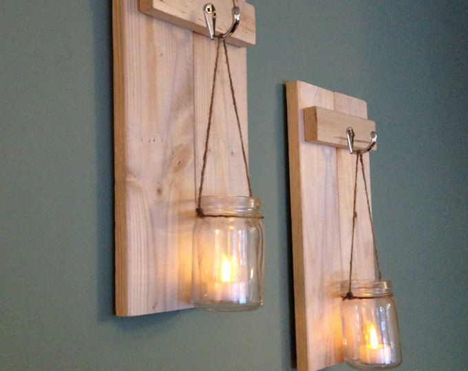 Mason Jar Sconce, Rustic Wall Decor, Wooden Candle Holder, Rustic Sconce, Wooden Wall Sconce, Wall Sconce, Mason Jar Candle Holder, Set of 2