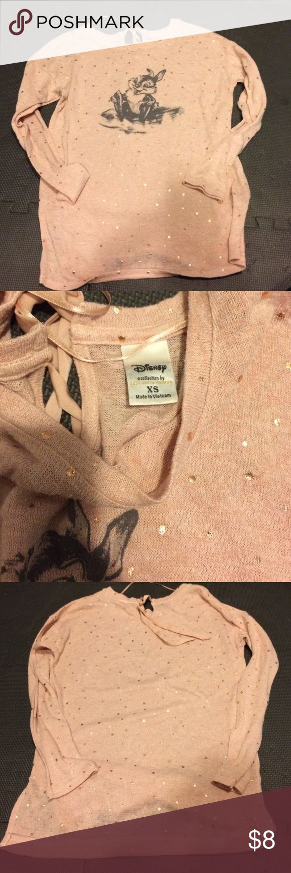 Pink Disney Sweater LC Lauren Conrad teamed up with Disney and created this adorable shirt! Light pink with gold pola dots and the lovable thumper from Disneys Bambi movie in grey. Perfect to wear for that Disney trip or with a pair of leggings LC Lauren Conrad Sweaters