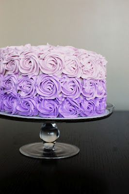 Purple Ombre cake- Imagine how long it took to make this thing! Really pretty. And a ton of frosting is always good :)