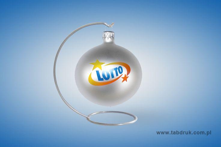 Bombka z logo firmy, np lotto do końca września promocyjne ceny. Idealny prezent świąteczny dla klientów Twojej firmy.