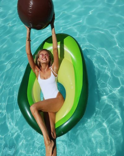 97e75f2b39 Avocado pool float, and the pit is a beach ball! Cutest idea. Would love to  float around in this.