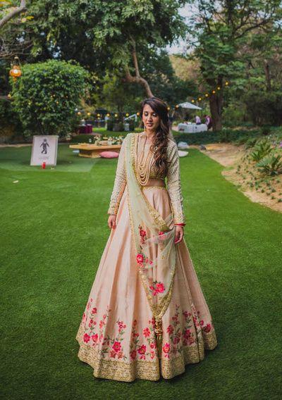 Sangeet Lehengas - Soft Pink Lehenga with Pink and Gold Embroidery and a Mint Green Dupatta | WedMeGood #wedmegood #indianbride #indianwedding #bridal #lehenga #pink