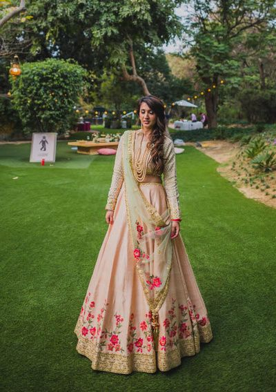 Sangeet Lehengas - Soft Pink Lehenga with Pink and Gold Embroidery and a Mint Green Dupatta | WedMeGood #wedmegood #indianbride #indianwedding #bridal #lehenga #pink