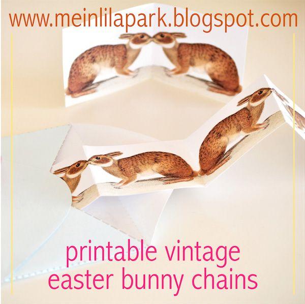 Free printable vintage bunny chain + digital border - ausdruckbare Hasen - freebie | MeinLilaPark – digital freebies