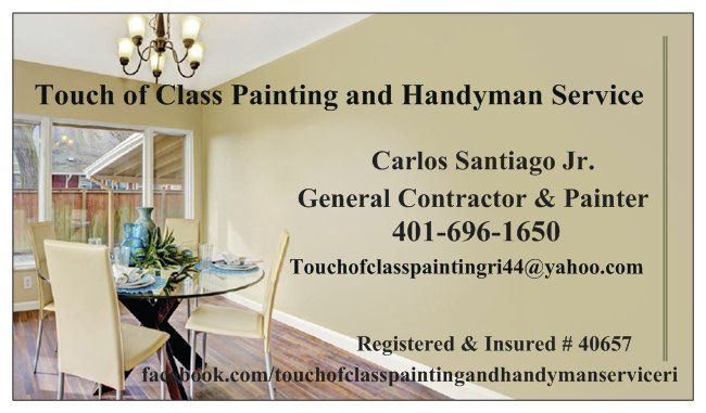 Are you looking for a great painter for your apartment, home or office? Hello! My name is Carlos and I am ~Touch Of Class Painting and Handyman Services  If you're planning your next residential makeover, and are in need of reliable, quality painter, contact the pros at Touch of Class Painting and Handyman Service Are your walls giving you dirty looks? Did you or a contractor you hired start a project, but not have time to finish or do a poor quality job? Maybe you're just tired of looking…
