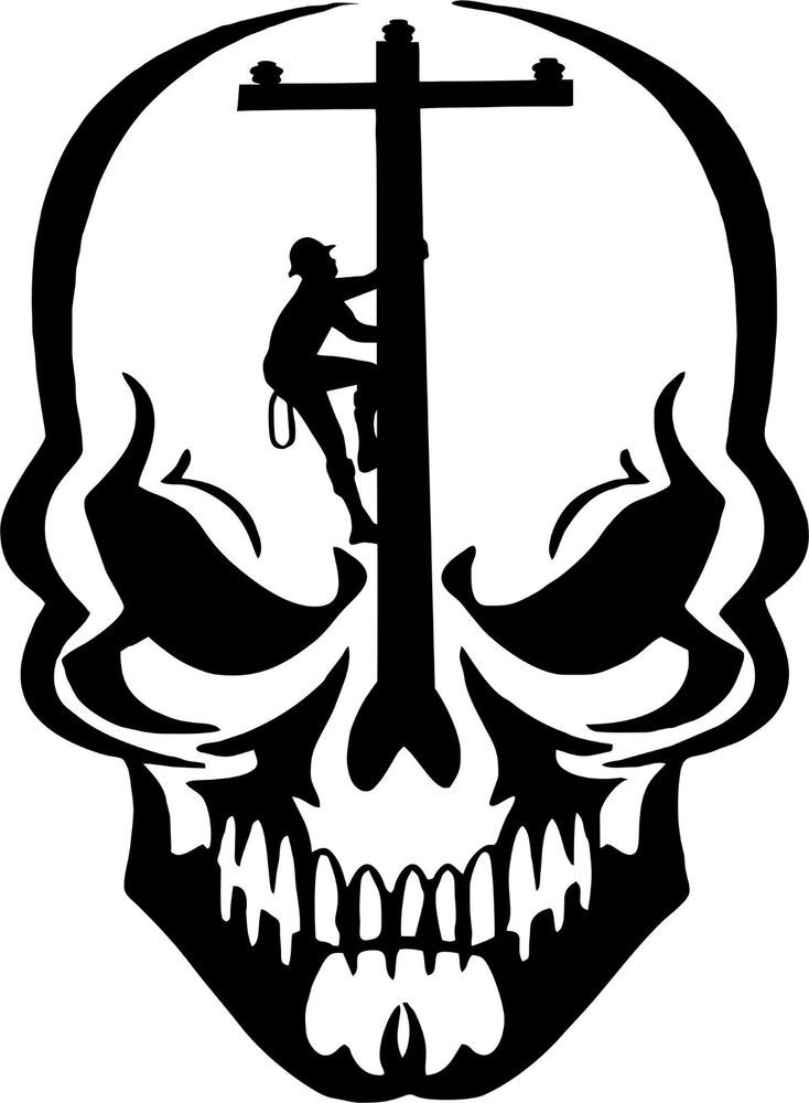 Skull Lineman Electrician Power Pole Car Truck Window Laptop Vinyl Decal Sticker #Oracal #Modern