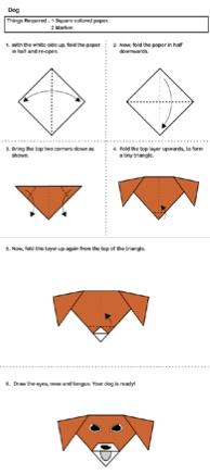 Easy Origami for Kids.  Dog shown. Click through for more: heart, boat, ladybug etc.