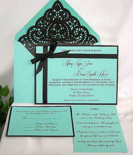 Tiffany Blue and Black Lace Wedding Invitation Custom Handmade Shabby Chic with Doily Lined Envelopes on Etsy, $6.00