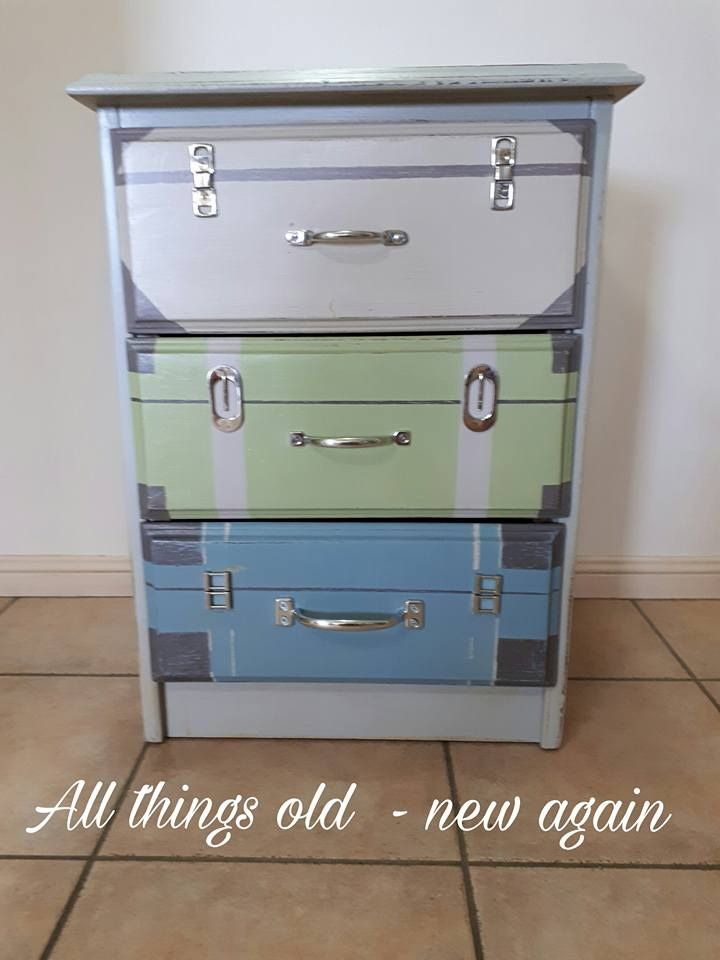 Suitcase inspired makeover for this great little bedside table SOLD