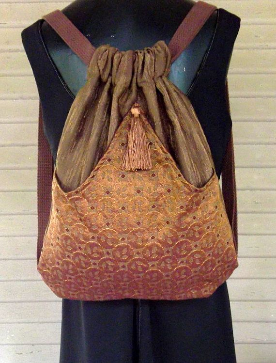 Brown Backpack With Copper Geometric Pattern and boho backpack renaissance backpack brown tassel rich tapestry