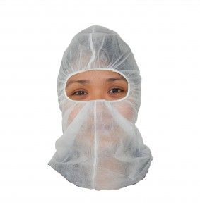 RONCO Balaclava http://ca.en.safety.ronco.ca/products/26/66/101/ronco-balaclava NEW & IMPROVED DESIGN!  Manufactured from non-woven polypropylene, the RONCO balaclava is designed for maximum protection and has a latex-free elastic face and neck opening for comfortable full-head enclosure. New and improved product design offers more comfortable eye openings and head-conforming fit.