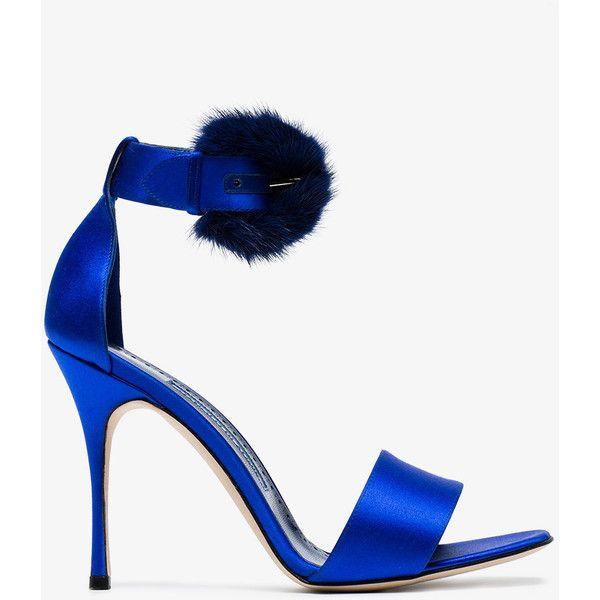 Manolo Blahnik Blue Trespola 105 Satin Fur Sandals (€745) ❤ liked on Polyvore featuring shoes, sandals, blue, satin shoes, blue sandals, manolo blahnik sandals, satin sandals and manolo blahnik shoes