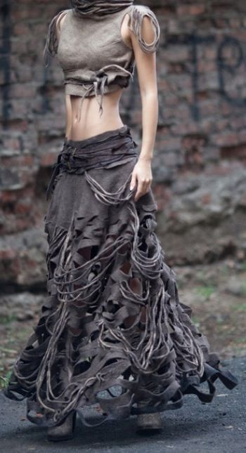 """""""Cyber industrial / sci fi / post apocalyptic / abstract skirt & crop top"""" Looks like felted wool."""