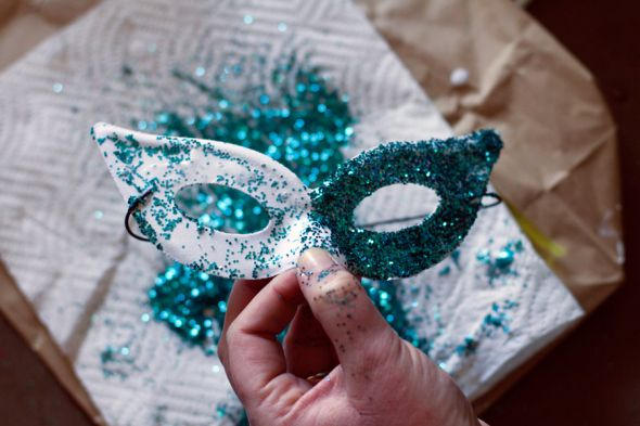 DIY Mardi Gras Mask. You can get the kids to color half, and the other half is glitter