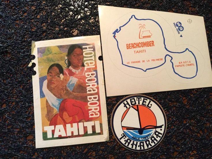 VINTAGE LUGGAGE LABELS Tahiti - Hotel Bora Bora, TAHARAA, Beachcomber Lot Of 3 #TahitihotelboraborahotelTAHARAAbeachcomber
