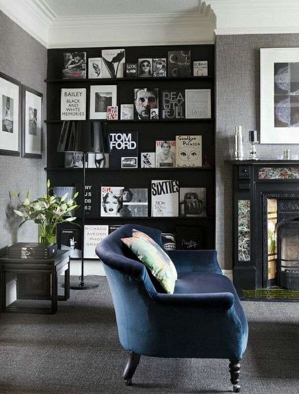 Navy Blue Sofa with Gray Walls