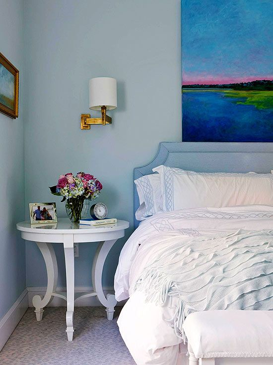 Colors and small headboard.    Upholstered Headboards We Love