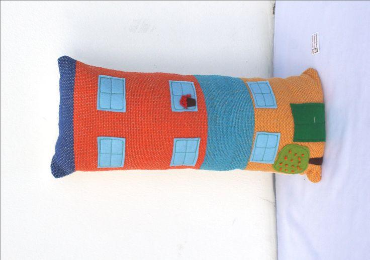 Handwoven BIG house, pillow, plush by ERGANIweaving on Etsy