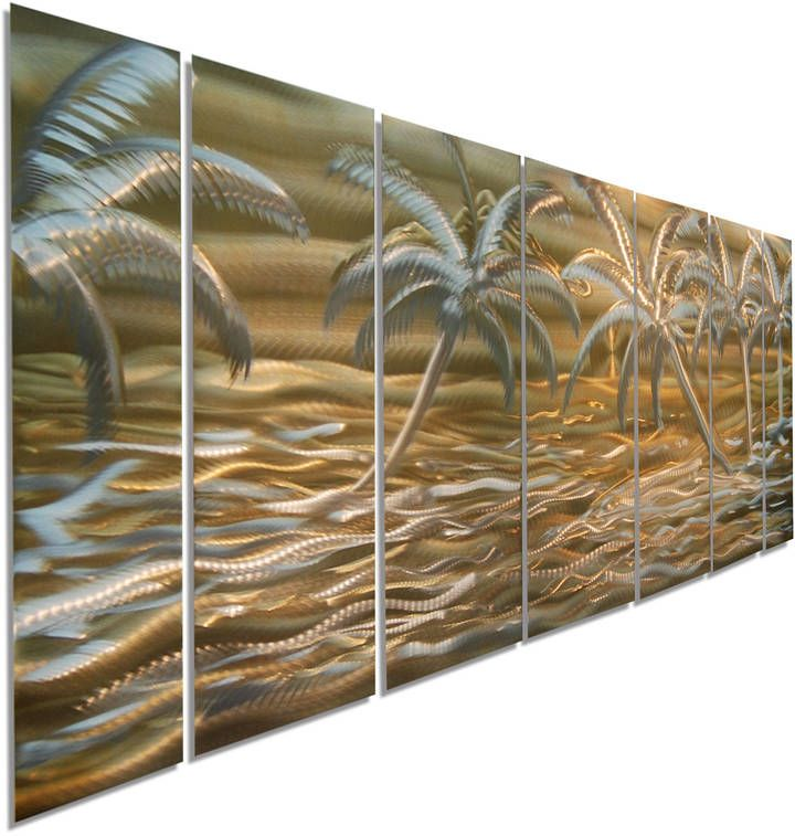 Etsy Huge Tropical Abstract Metal Wall Art, Modern Beach Decor, Gold & Silver Palm Tree Painting, Home De