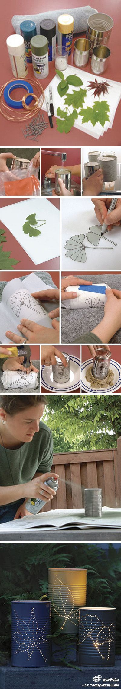 Fill a tin can with water, freeze, then punch holes with a nail to make a pattern for the light of a candle to show through