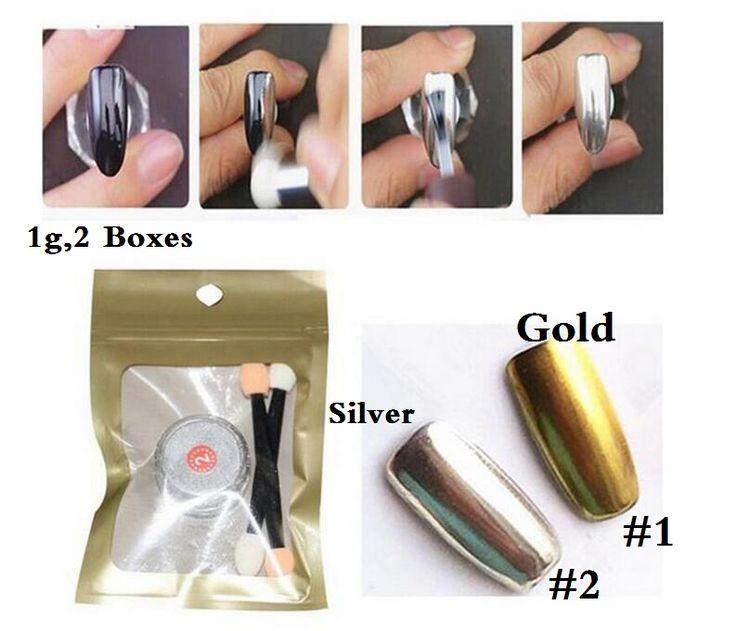 2 Doos Spiegel Chrome Nail Poeder Metallic + Zilveren Nagellak Effect Glitter Pigment met 4 Borstel Gereedschap Nail Art