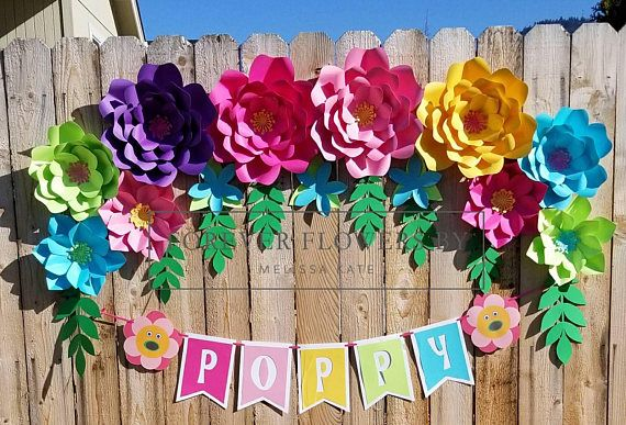 Large Paper Flower Backdrop Display Dreamworks Trolls Poppy Set