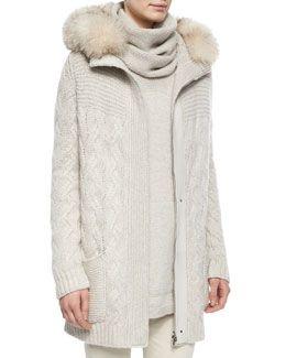 W04TQ Loro Piana Montgomery Fur-Trimmed Cashmere Cable-Knit Cardigan