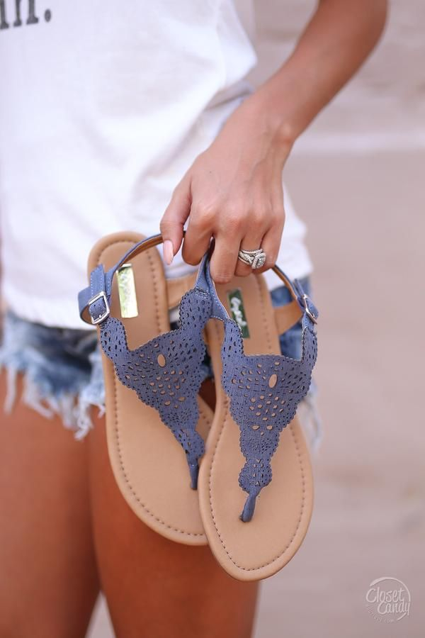 Long Walks on the Beach Sandals - Denim Blue