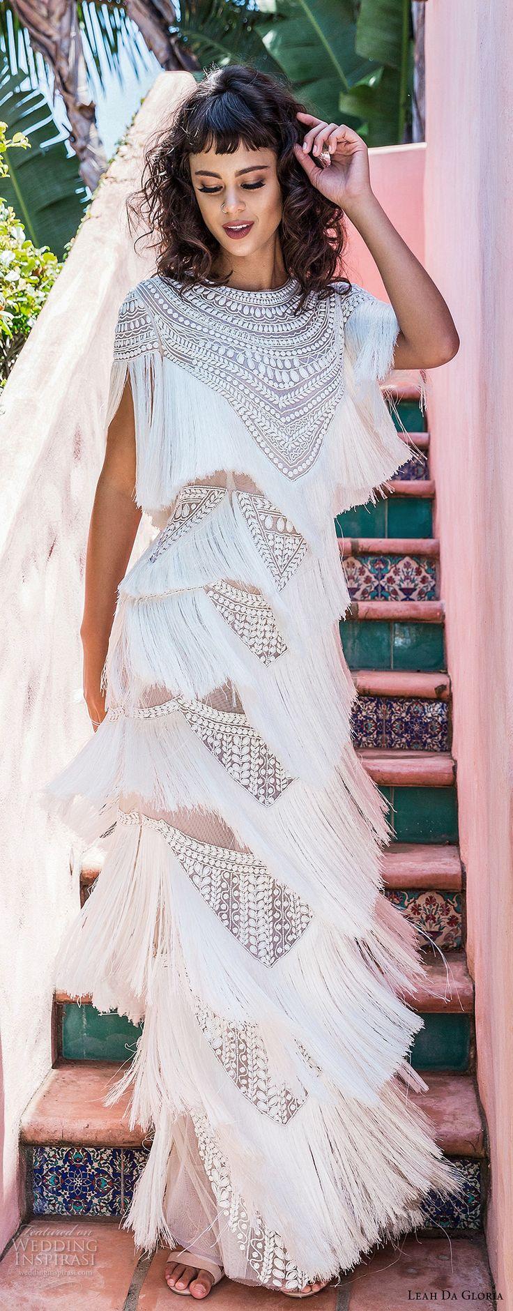 leah da gloria 2017 bridal cap sleeves jewel neckline fully embellishment fringes layered skirt bohemian column wedding dress (mia) mv -- Leah Da Gloria 2017 Wedding Dresses
