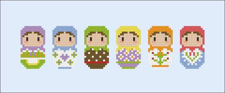 Cute Little Matryoshka Dolls - Cross Stitch Patterns - CloudsFactory