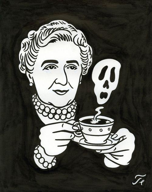 """Agatha Christie - Dessin pour la couverture du Magazine """"Lire""""    Floc'h"""