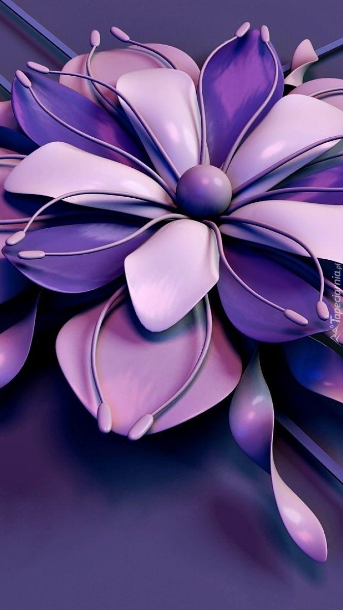 Fioletowy Kwiat W Grafice Wallpaper Live Wallpapers Flowers