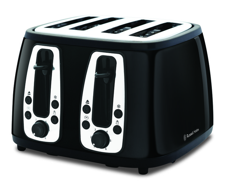 Who wouldn't want a touch of Russell Hobbs in their kitchen? This is the Heritage toaster in black, adding a retro touch to any kitchen #kitchengadgets #benchtops  http://digitaledition.lighthome.com.au/?iid=84743#folio=6
