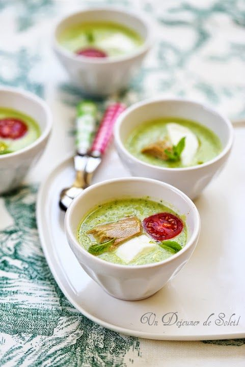 Zucchini Soup Garnished With Mozzarella  Tuna & Tomato