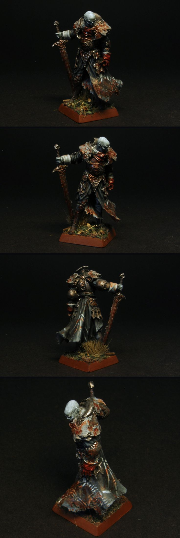 A Vampire Warrior miniature painted for Vampire Counts, Warhammer Fantasy Battle, or Age of Sigmar if need be. A miniature from Enigma Miniatures, Dark Vlad the Manhunter. He would be a Soulblight Vampire in AoS, Death Grand Alliance.