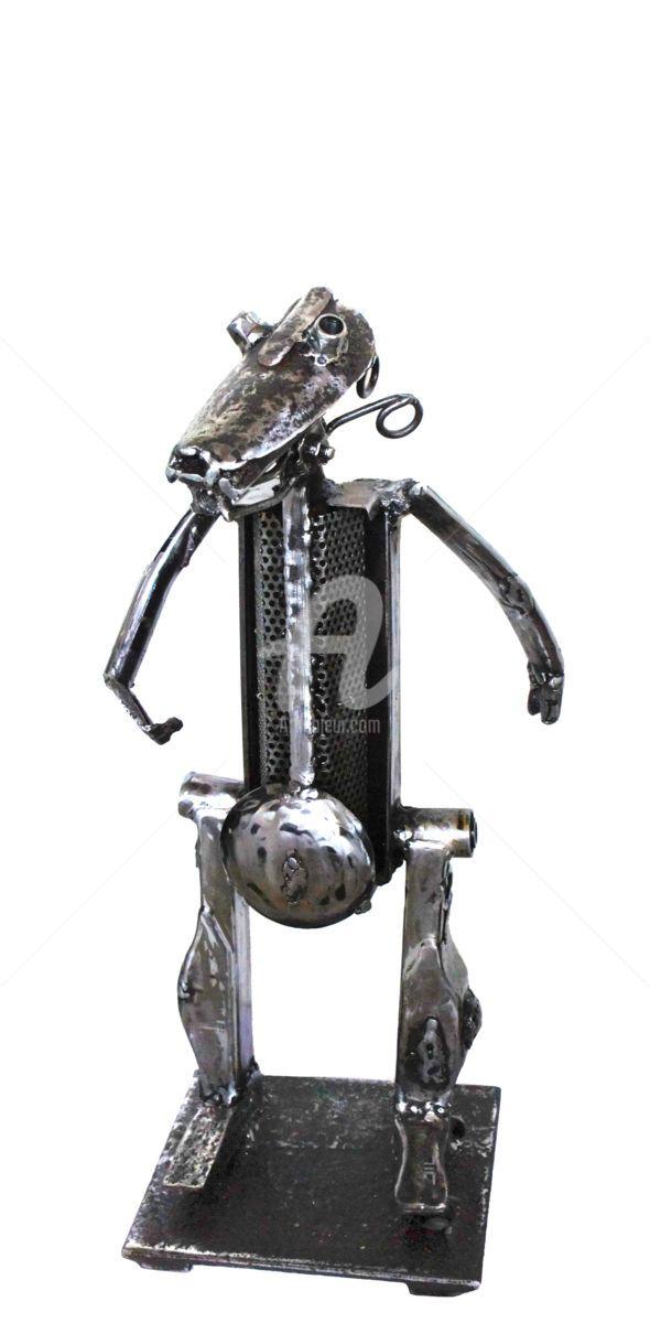 JIMMY, profil gauche - Sculpture,  27x60x18 cm ©2016 par JL LACROIX -                                                                                                                                                  Art figuratif, Symbolisme, Métal, Animaux, Bandes dessinées, Chiens, Fantastique, Hommes, Personnes, Robots, humour, personnage, acier soudé, sculpture, métal, fanfaron, comique, huluberlu