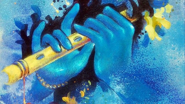 Abstract painting of Krishna - Why is Krishna Blue?