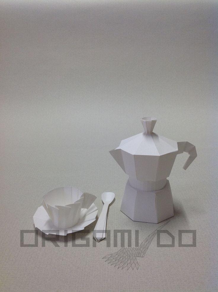 Origami Caffettiera, Tazzina e Cucchiaino